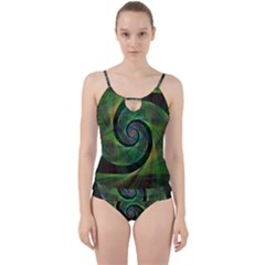 Green Spiral Fractal Wired Cut Out Top Tankini Set