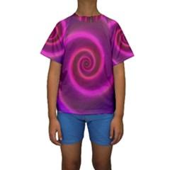Pink Background Neon Neon Light Kids  Short Sleeve Swimwear
