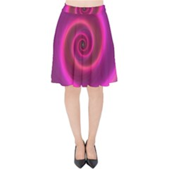 Pink Background Neon Neon Light Velvet High Waist Skirt