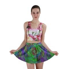 Fractal Spiral Swirl Pattern Mini Skirt