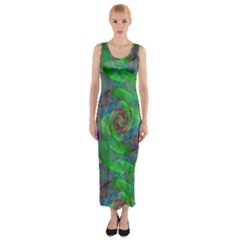Fractal Spiral Swirl Pattern Fitted Maxi Dress