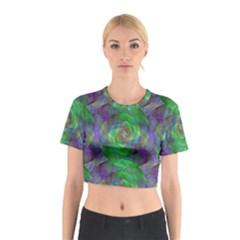 Fractal Spiral Swirl Pattern Cotton Crop Top