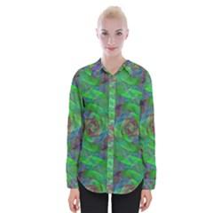 Fractal Spiral Swirl Pattern Womens Long Sleeve Shirt