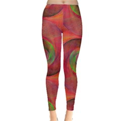 Red Spiral Swirl Pattern Seamless Leggings