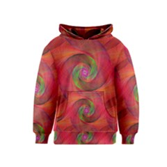 Red Spiral Swirl Pattern Seamless Kids  Pullover Hoodie