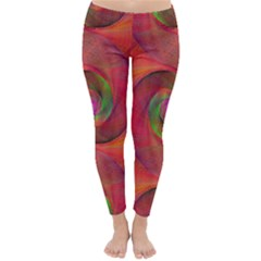Red Spiral Swirl Pattern Seamless Classic Winter Leggings