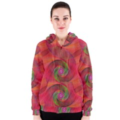 Red Spiral Swirl Pattern Seamless Women s Zipper Hoodie