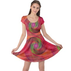 Red Spiral Swirl Pattern Seamless Cap Sleeve Dress