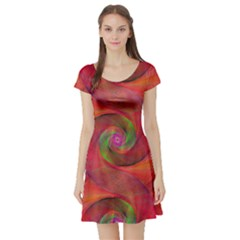 Red Spiral Swirl Pattern Seamless Short Sleeve Skater Dress