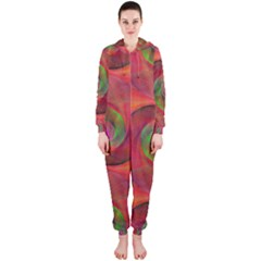 Red Spiral Swirl Pattern Seamless Hooded Jumpsuit (ladies)