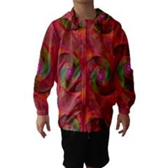 Red Spiral Swirl Pattern Seamless Hooded Wind Breaker (kids)