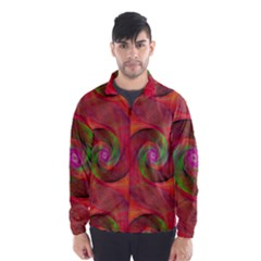 Red Spiral Swirl Pattern Seamless Wind Breaker (men)