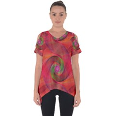 Red Spiral Swirl Pattern Seamless Cut Out Side Drop Tee