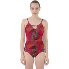 Red Spiral Swirl Pattern Seamless Cut Out Top Tankini Set