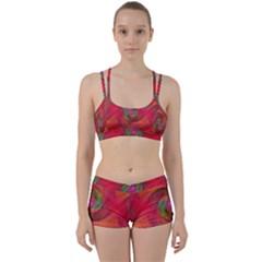 Red Spiral Swirl Pattern Seamless Women s Sports Set