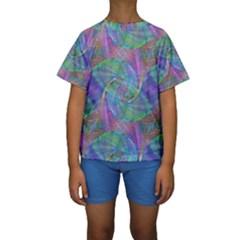 Spiral Pattern Swirl Pattern Kids  Short Sleeve Swimwear