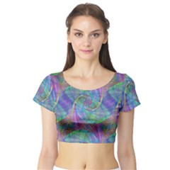 Spiral Pattern Swirl Pattern Short Sleeve Crop Top (tight Fit)