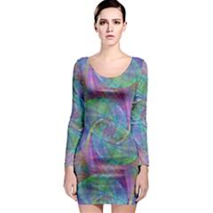Spiral Pattern Swirl Pattern Long Sleeve Bodycon Dress