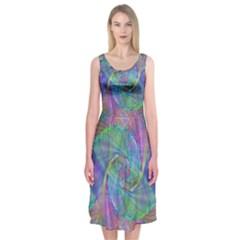 Spiral Pattern Swirl Pattern Midi Sleeveless Dress