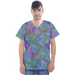 Spiral Pattern Swirl Pattern Men s V Neck Scrub Top