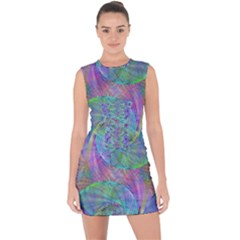 Spiral Pattern Swirl Pattern Lace Up Front Bodycon Dress