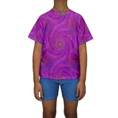 Pink Abstract Background Curl Kids  Short Sleeve Swimwear