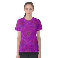 Pink Abstract Background Curl Women s Cotton Tee