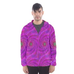 Pink Abstract Background Curl Hooded Wind Breaker (men)