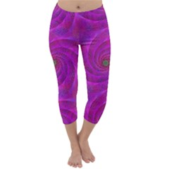 Pink Abstract Background Curl Capri Winter Leggings