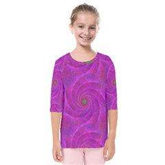 Pink Abstract Background Curl Kids  Quarter Sleeve Raglan Tee