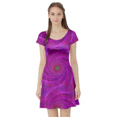 Pink Abstract Background Curl Short Sleeve Skater Dress