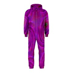 Pink Abstract Background Curl Hooded Jumpsuit (kids)