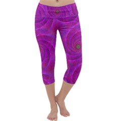 Pink Abstract Background Curl Capri Yoga Leggings