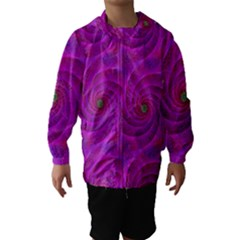 Pink Abstract Background Curl Hooded Wind Breaker (kids)