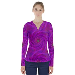 Pink Abstract Background Curl V Neck Long Sleeve Top