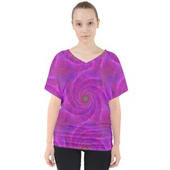 Pink Abstract Background Curl V Neck Dolman Drape Top