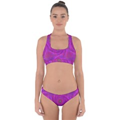 Pink Abstract Background Curl Cross Back Hipster Bikini Set
