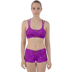 Pink Abstract Background Curl Women s Sports Set