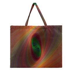 Ellipse Fractal Orange Background Zipper Large Tote Bag