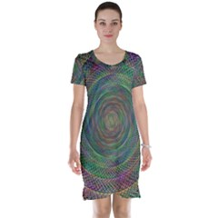 Spiral Spin Background Artwork Short Sleeve Nightdress
