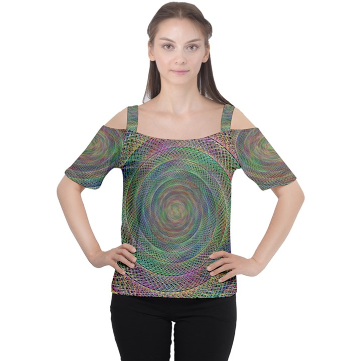 Spiral Spin Background Artwork Cutout Shoulder Tee