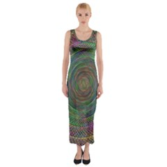 Spiral Spin Background Artwork Fitted Maxi Dress