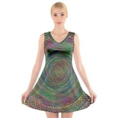 Spiral Spin Background Artwork V Neck Sleeveless Skater Dress
