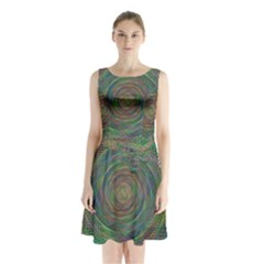 Spiral Spin Background Artwork Sleeveless Waist Tie Chiffon Dress