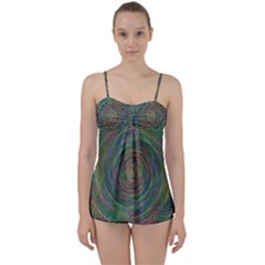 Spiral Spin Background Artwork Babydoll Tankini Set