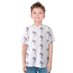 Sweet Flamingo Pattern Kids  Cotton Tee