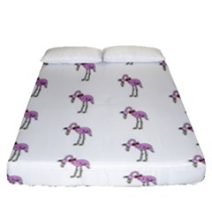 Sweet Flamingo Pattern Fitted Sheet (queen Size)