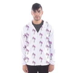Sweet Flamingo Pattern Hooded Wind Breaker (men)