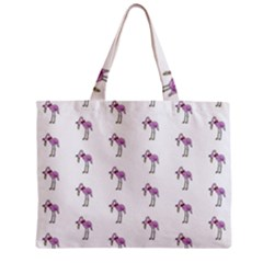 Sweet Flamingo Pattern Zipper Mini Tote Bag