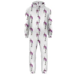 Sweet Flamingo Pattern Hooded Jumpsuit (men)